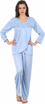 Masha Women's Solid Blue Top & Pyjama Set
