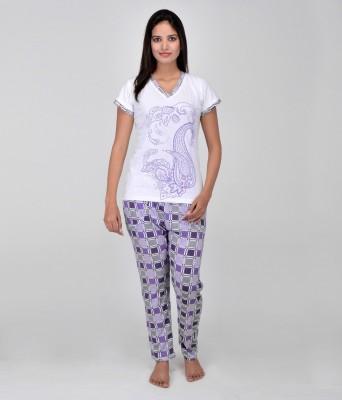 World Of Fashion Women's Printed Blue Top & Pyjama Set