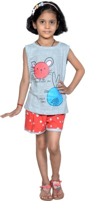 Gee & Bee Girl's Printed Grey Top & Shorts Set