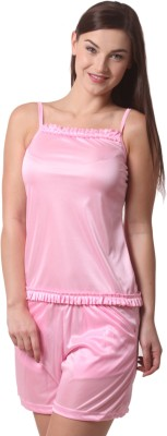 Being Fab Comfortable Women,s Solid Pink Top & Shorts Set