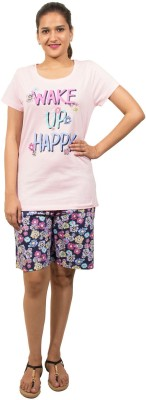 Go Colors Women's Printed Pink Top & Shorts Set