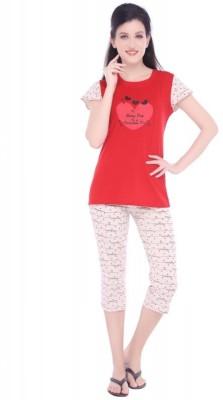 La Zoya Women's Printed Red Top & Capri Set