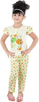 Chocoberry Cute Baby Girl's Printed Yellow Top & Pyjama Set