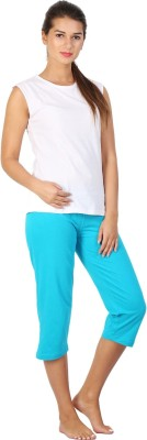 Click Hit Softle Top Payjama set Women's Solid White, Light Blue T-shirt & Three-forth Set