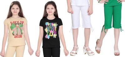 Sini Mini Baby Girls Printed Multicolor Top & Capri Set