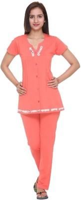In Love Women's Self Design Orange Top & Pyjama Set