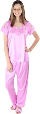 kem Flow Gold Women's Solid Maroon Top & Pyjama Set