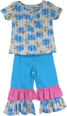 SSMITN Girl's Printed Blue Top & Capri Set