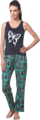 Tweens Women's Printed Green Top & Pyjama Set