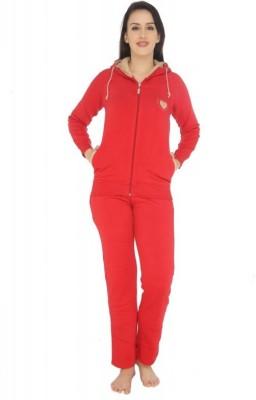 La Zoya Women's Solid Red Top & Pyjama Set