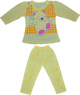 Smilee Girls Printed Yellow Top & Pyjama Set