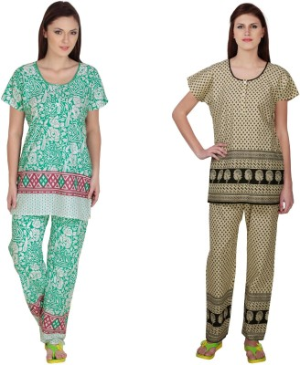 Simrit Women's Printed Green, Black Top & Pyjama Set