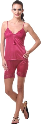 Affair Women's Solid Orange Top & Shorts Set