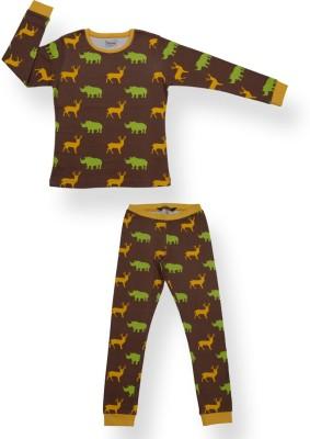 Ventra Girl's Printed Brown Top & Pyjama Set