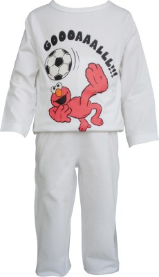 Teddys Choice Boys Solid White Top & Pyjama Set