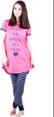Vixenwrap Women's Printed Pink, Blue Top & Pyjama Set
