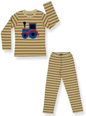 Ventra Boy's Striped Multicolor Top & Pyjama Set
