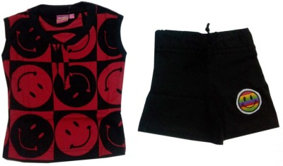 Tomato Girl's Printed Red Top & Shorts Set