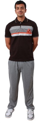 Colors & Blends Mens Striped Brown, Grey Top & Pyjama Set