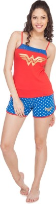SOIE Women's Printed Red, Blue Top & Shorts Set