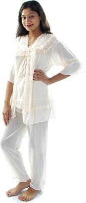 Gwyn Lingerie Women's Solid Beige Top & Pyjama Set