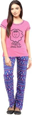 Gallop Women's Printed Pink Top & Pyjama Set
