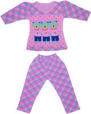 Smilee Girl's Printed Pink Top & Pyjama Set