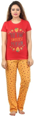 Sunwin Women's Printed Red, Orange Top & Pyjama Set