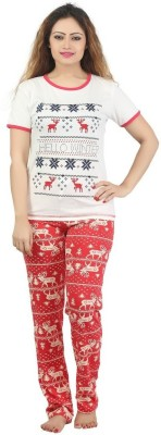 Sunwin Women's Printed White, Red Top & Pyjama Set