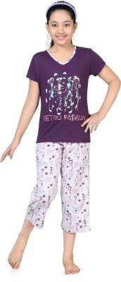 Kombee Girl's Printed Purple, White Top & Capri Set