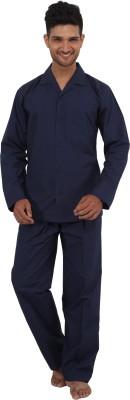 Tatwam Woven Men's Solid Dark Blue Top & Pyjama Set
