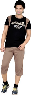 Premium Plus Men's Printed Black, Brown T-shirt & Three-forth Set