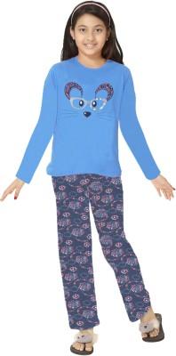 So Sweety Girl's Printed Blue Top & Pyjama Set