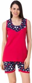 Fasense Women's Solid, Printed Pink, Dark Blue Top & Shorts Set