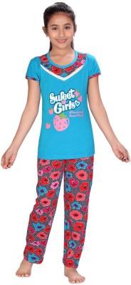 ABHIRA Girl's Printed Blue, Pink Top & Pyjama Set