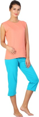 Click Hit Softle Top Payjama set Women's Solid Orange, Light Blue T-shirt & Three-forth Set