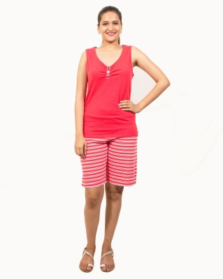 Go Colors Women's Printed Red Top & Shorts Set
