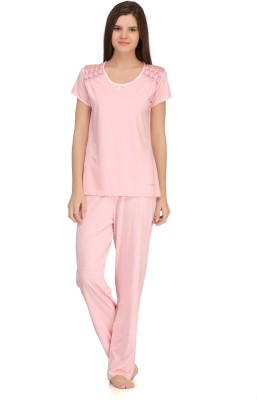 Kanvin Women's Solid Pink Top & Pyjama Set