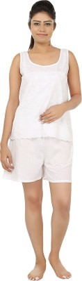 After Dark Women,s Embroidered White Top & Shorts Set