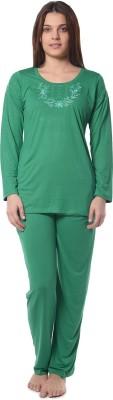 Squirrel Women's Solid Green Top & Pyjama Set