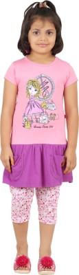 SPN Garments Girl,s Graphic Print Purple, Pink Top & Capri Set