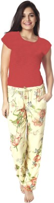 Mystere Paris Women's Printed Red Top & Pyjama Set