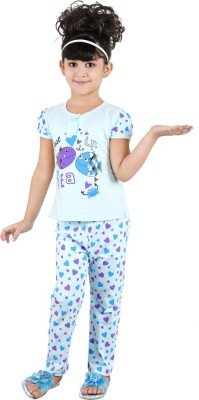 Chocoberry Cute Baby Girl's Printed Light Blue Top & Pyjama Set