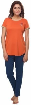 Fragrance Women's Solid Orange Top & Pyjama Set