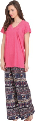 She N She Women's Printed Pink Top & Pyjama Set