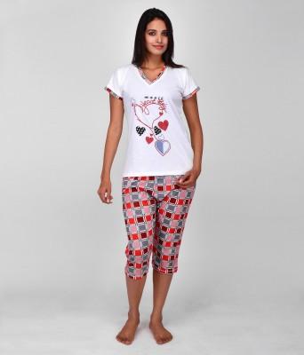 World Of Fashion Women's Printed Red Top & Capri Set