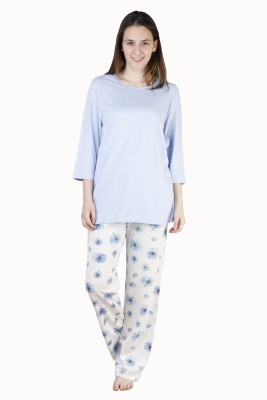 Habitude Women's Solid Blue Top & Pyjama Set