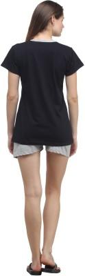 Klamotten Women's Solid Black, Grey Top & Shorts Set at flipkart