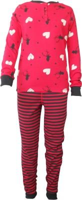 Sweet Dreams Girl's Floral Print Red Top & Pyjama Set