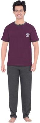 Inter Creation Men,s Solid Purple Top & Pyjama Set